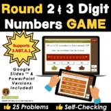 Rounding Game 2 and 3 Digit Numbers Fall Leaves Edition -