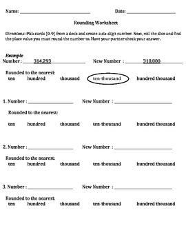 Rounding Game with Worksheet