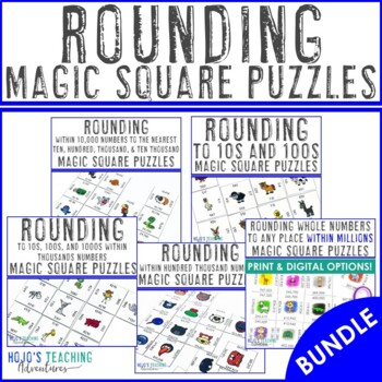 Rounding Math Centers, Test Prep Activities, or Games BUNDLE - 29 puzzles!