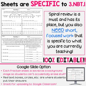 Rounding Homework or Rounding Math Centers - 3.NBT.1