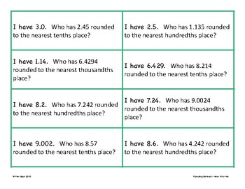 Rounding Game - I Have Who Has - Decimals {Differentiated}