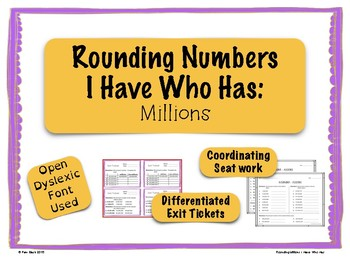 Rounding Game - I Have Who Has - Millions {Differentiated}