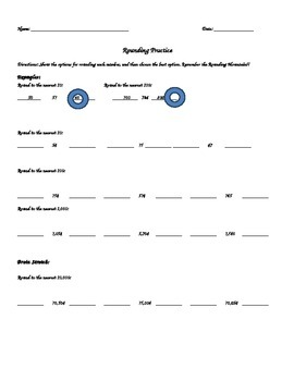 Rounding Independent Practice Worksheet or Assessment