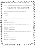 Rounding Large Numbers Assessment