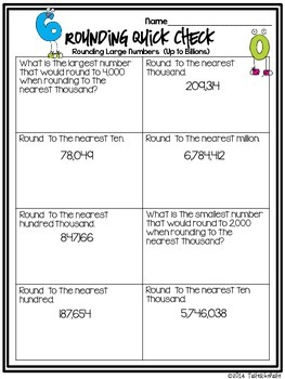 Rounding Large Numbers: Mix n' Mingle *Individual Worksheet Included*