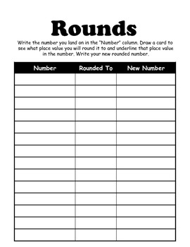Rounding Large Numbers - Notes and Game