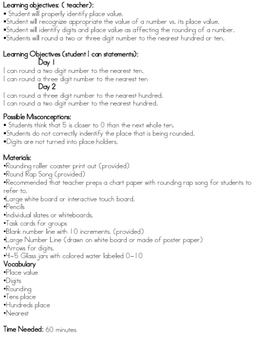 Rounding Lesson with worksheets