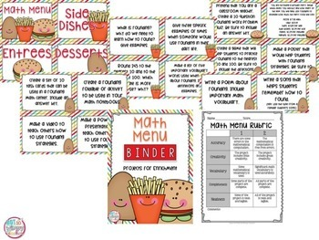 Rounding Math Menu Choice Board with 18 Projects