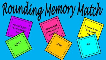 Rounding Memory Match 3rd Grade