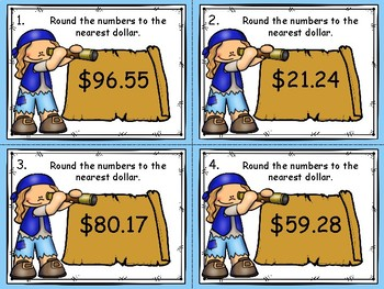 Rounding Money to the Nearest Dollar Task Cards