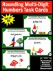 Rounding Task Cards, 4th Grade Math Centers, Spring or Summer Math Games