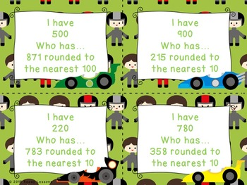 I Have Who Has Rounding Game 3rd Grade Round to nearest 10 & 100 Math 3.NBT.1