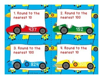Rounding Numbers Activity Round to the nearest 10 & 100 Scoot Task Cards 3.NBT.1