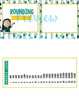 Rounding Numbers Clip It Card Game for Centers