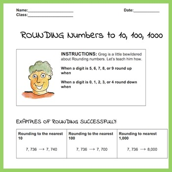 Rounding Numbers Lesson and Practice Worksheet, 30 problems. Answer Key,