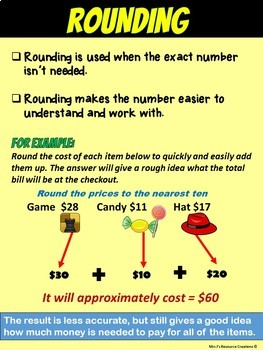 Rounding Numbers Math Poster Charts FREE