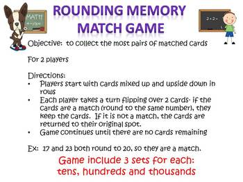Rounding Numbers Memory Match Game for centers