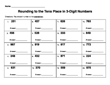 Rounding Numbers Practice (rounding to the tens place in 3
