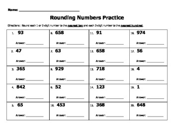 Rounding Numbers Practice (tens and ones) 1