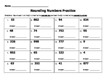 Rounding Numbers Practice (tens and ones) 2