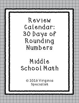 Rounding Numbers Review Calendar