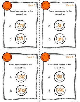 Rounding Numbers: Rounding Happy Task Cards
