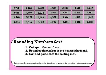 Rounding Numbers Sort (Thousands)