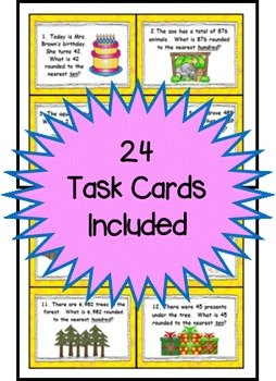 Rounding Numbers Task Cards for 3rd Grade