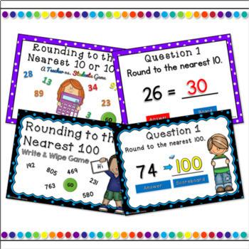 Rounding Numbers Powerpoint Game Bundle