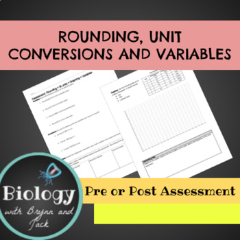 Rounding Numbers, Unit Conversion, Graphing and Variables Assessment