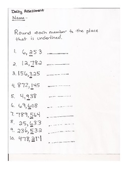 Estimate: Rounding Numbers Weekly Lesson Plans Assessments