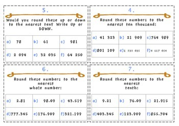 Rounding Numbers and Estimation Task Cards