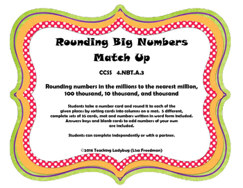 Rounding Numbers from Thousands to Millions Sorting Activity