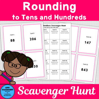 Rounding Numbers to tens and hundreds Scavenger Hunt