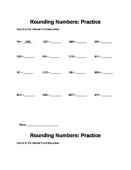 Rounding Numbers to the nearest 100s Practice
