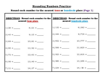 Rounding #s to the nearest tens and hundreds place worksheet & answer key