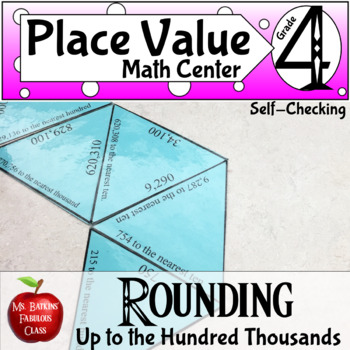 Rounding Numbers Math Center Game up to Hundred Thousands