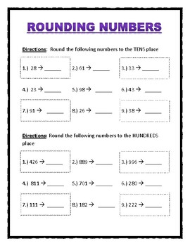 Rounding Numbers worksheet (Rounding to nearest 10 and 100)