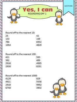 Rounding Off Task Cards - Yes, I Can