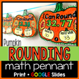 Rounding Decimals pennant activity with a pumpkin theme