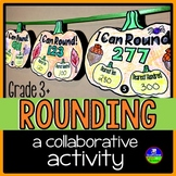 Rounding Whole Numbers pennant activity with a pumpkin theme