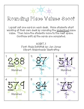 Rounding Place Values Scoot - Winter Edition