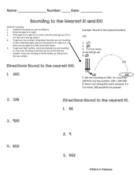 Rounding Practice Page with Easy Steps to Round, 100s and 10s
