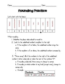 Rounding Numbers with Place Value Review