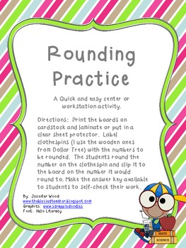 Rounding Practice....a Center Activity