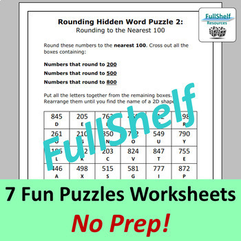 Rounding Puzzles Worksheets (Nearest 10, 100, 1000, whole number, decimals)