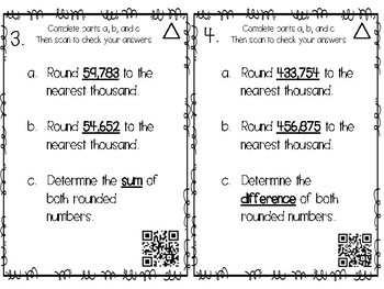 Rounding QR Task Cards to the nearest Hundred Thousand