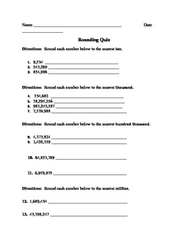 Rounding Whole Numbers Quiz