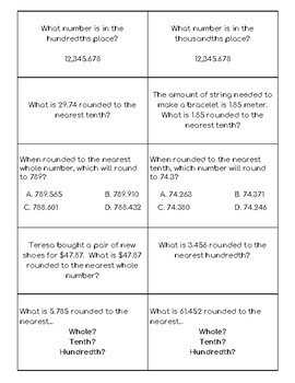 Rounding Quiz-Quiz-Trade Cards