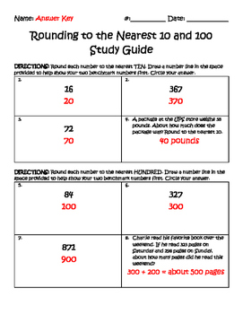 Rounding Quiz and Study Guide